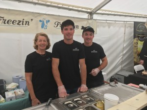 Grace Kiersey with sons Ivan and Tom of 'Freezin' Friesian'.