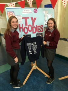 Clodagh Purcell and Jennifer Barry with 'TY Hoodies' at St Declan's Community College.