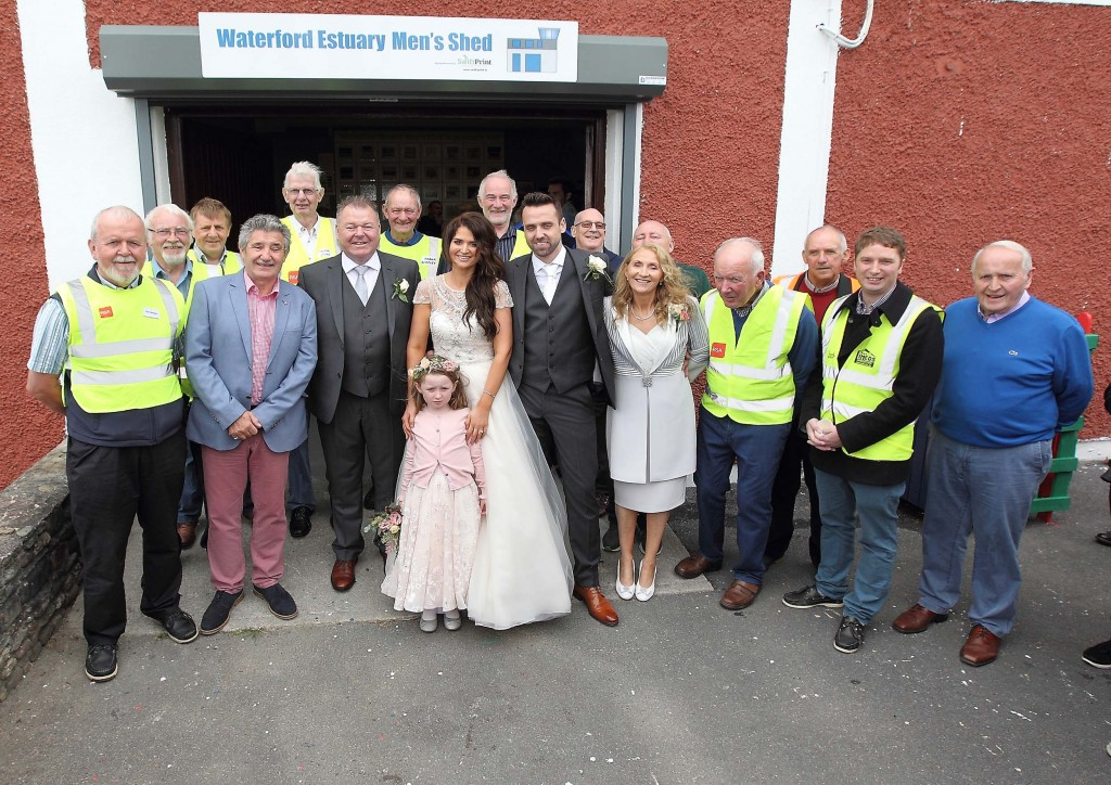 The opening of the Waterford Estuary Men's Shed in Passage had a few surprise visitors to their opening on Friday last when Men's Shed member Pat O'Neill brought his daughter Danielle Ryan and her new husband Neil Ryan over to the opening before heading to Faithlegg House Hotel. Also included in the wedding party were Imelda O'Neill and Mollie O'Rourke.   Photos: Noel Browne.