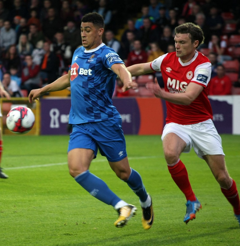 Courtney Duffus on the attack during last Friday's Premier Division defeat to St Patrick's Athletic