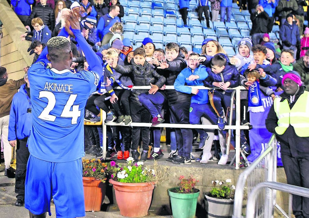 Waterford FC's Izzy Akinade acknowledging the fans as he leaves the pitch at the end of the game and the end of Waterford FC's season