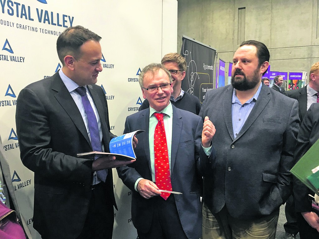 Taoiseach Leo Varadkar pictured with Crystal Valley Tech's Professor Willie Donnelly (President, WIT) and Larry Breen (Routematch).