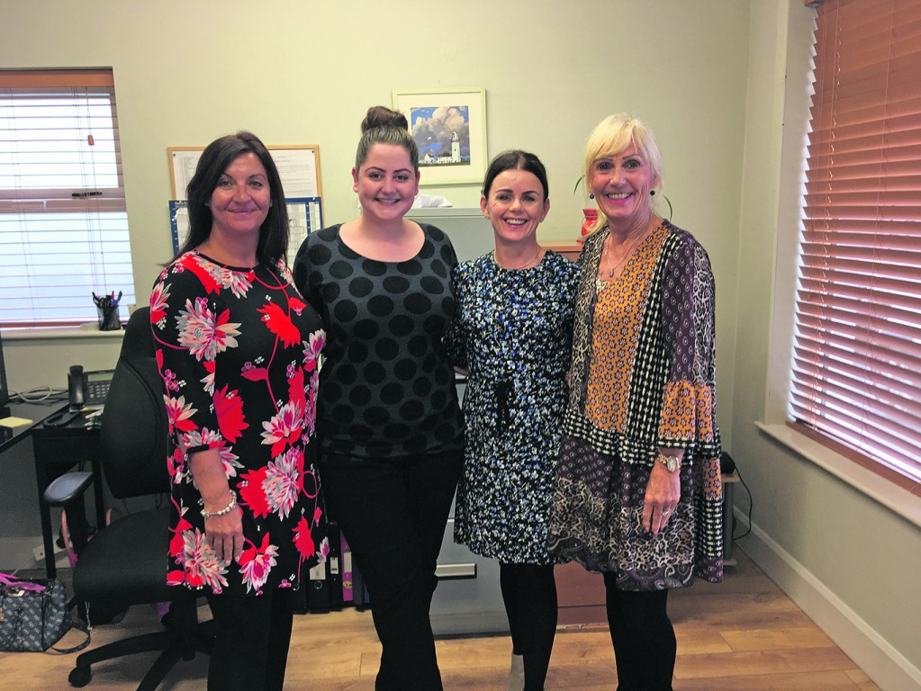 Clinical support staff Jenny Moloney, Laura Spillane and Sylvia Malone with Olive Ruane.