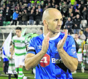 Blues captain Paul Keegan leads his team out against Shamrock Rovers