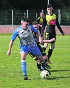 Hibernians' Jason Keane on the attack against Johnville