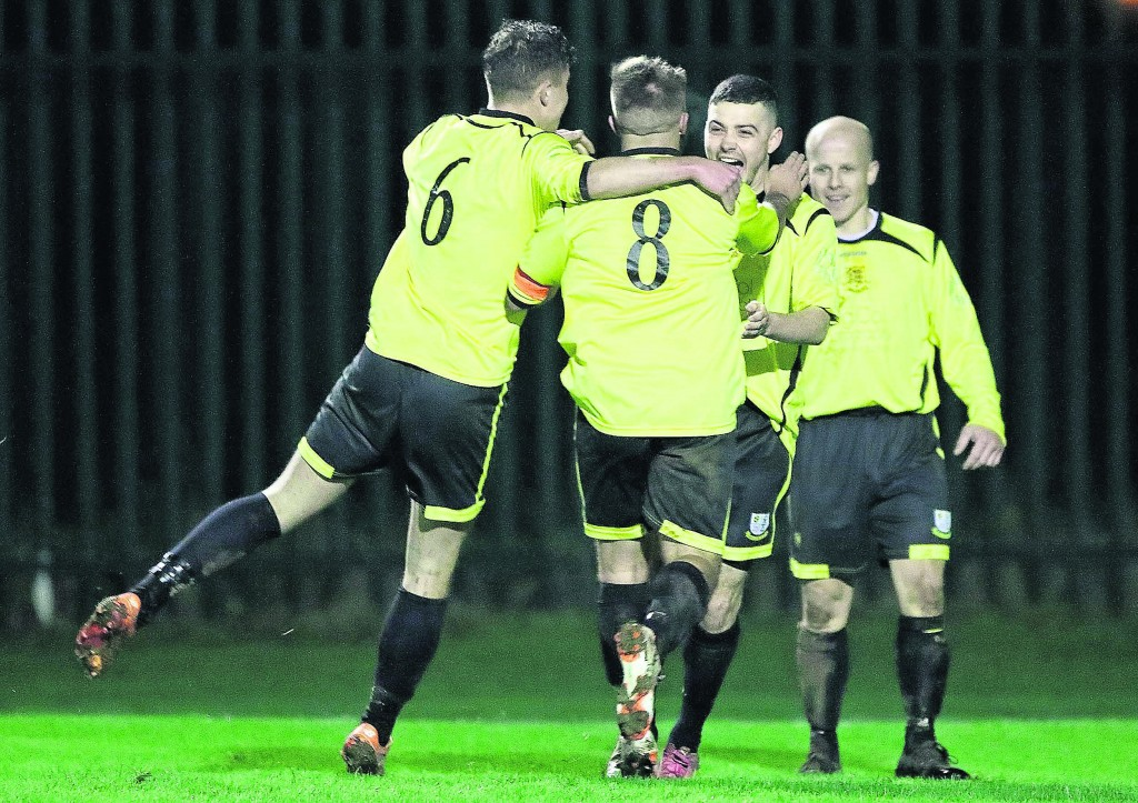 Goalscorer Thomas Croke celebrates with his team mates after his strike won the game for his team.Photo by Noel Browne