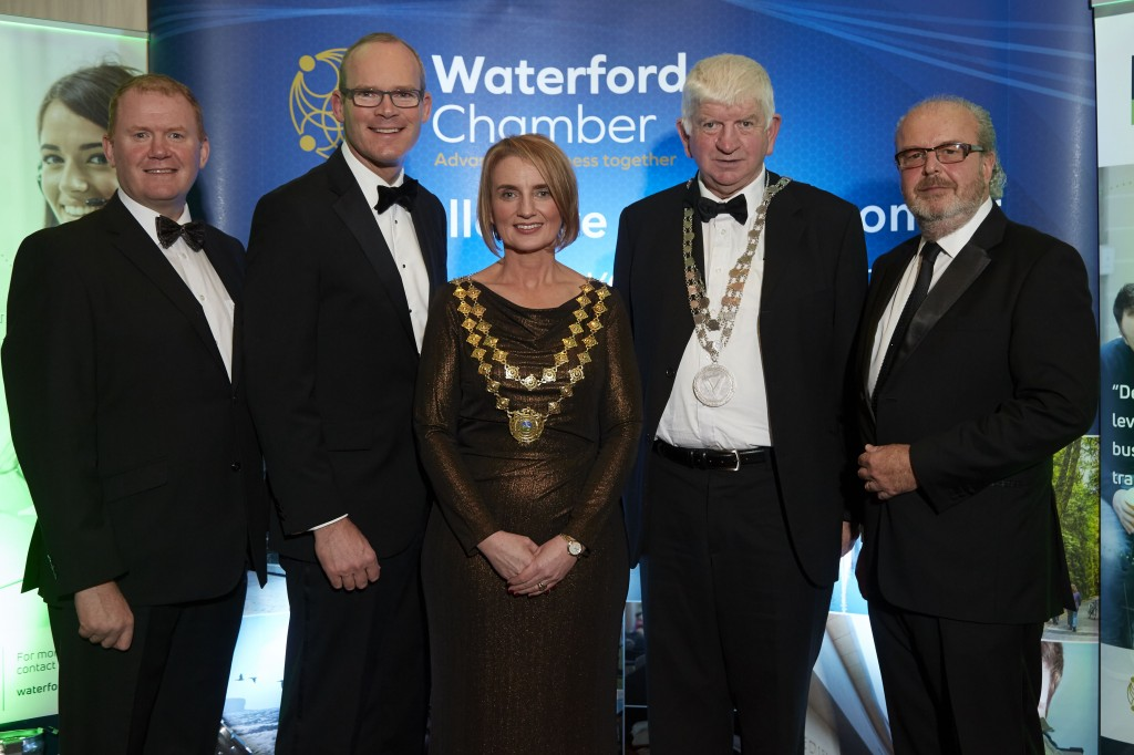 Pictured attending The Waterford Chamber Annual Dinner were (from left): Senator Paudie Coffey; Tánaiste and Minister for Foreign Affairs, Simon Coveney TD, Kathryn Kiely (President, Waterford Chamber), Declan Doocey (City & County Mayor) and Gerald Hurley (CEO, Waterford Chamber). | Photos: www.gerryocarroll.com