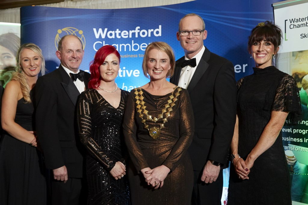 From left: Audrey Barry (Waterford Chamber Skillnet), Frank Ryan (Chairman IDA Ireland and Guest Speaker), Sarah Mullally (Network Manager, Waterford Chamber Skillnet - Event Sponsor), Kathryn Kiely (President, Waterford Chamber), Minister Simon Coveney (Guest Speaker) and Kelly Cummins (Waterford Chamber Skillnet).