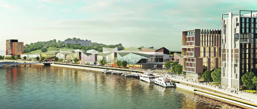 A drawing released last week by Falcon Real Estate Development of the North Quay project, with the reconstituted Frank Cassin Wharf pictured on the right
