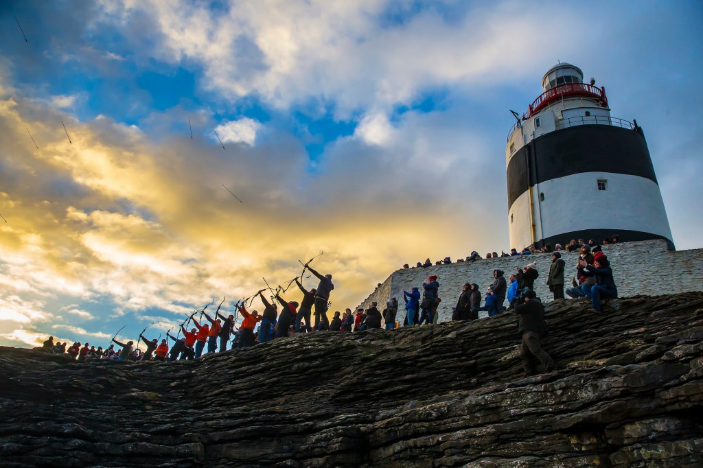 Pictured at the 800-year-old Hook Lighthouse in County Wexford are the Dunbrody Archers and the Cathaoirleach of New Ross Municipal District as they perform an Arrow Ceremonyíand age-old tradition dating back to 1687. The annual event takes place again this year at 1 pm on New Year's Day for further details see www.hookheritage.ie.  | Photo: Patrick Browne