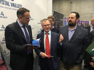 Taoiseach Leo Varadkar pictured with Professor Willie Donnelly and Larry Breen of Crystal Valley Tech.