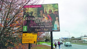 Signage advertising the Waterford Museum of Treasures outside the RSC.