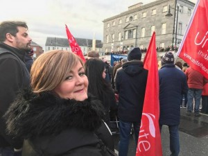 Liz pictured at one of the marches held in Waterford calling for greater cardiac services at UHW