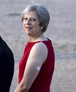 UK Prime Minister Theresa May, who is a Type 1 diabetic, was pictured wearing a glucose monitoring at an event during the visit of US President Donal Trump in July.