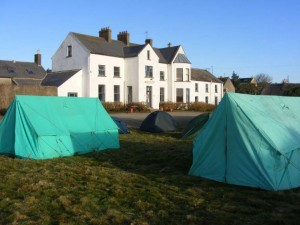 Tents pitched outside Annestown House by the 35th Waterford Copper Coast Scout Group.