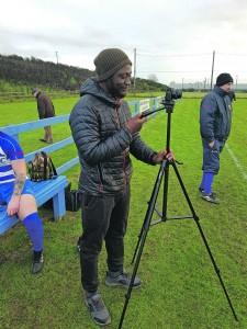 Ruke Ogude filming at the St Joseph's v Piltown game on Saturday last.