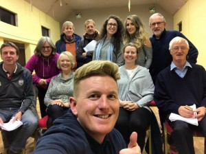 The cast of Dawn Players 'The Canaries' pictured during a pre-Christmas break in rehearsals. Their latest production, directed by Miriam Daly, runs from January 30th to February 2nd.