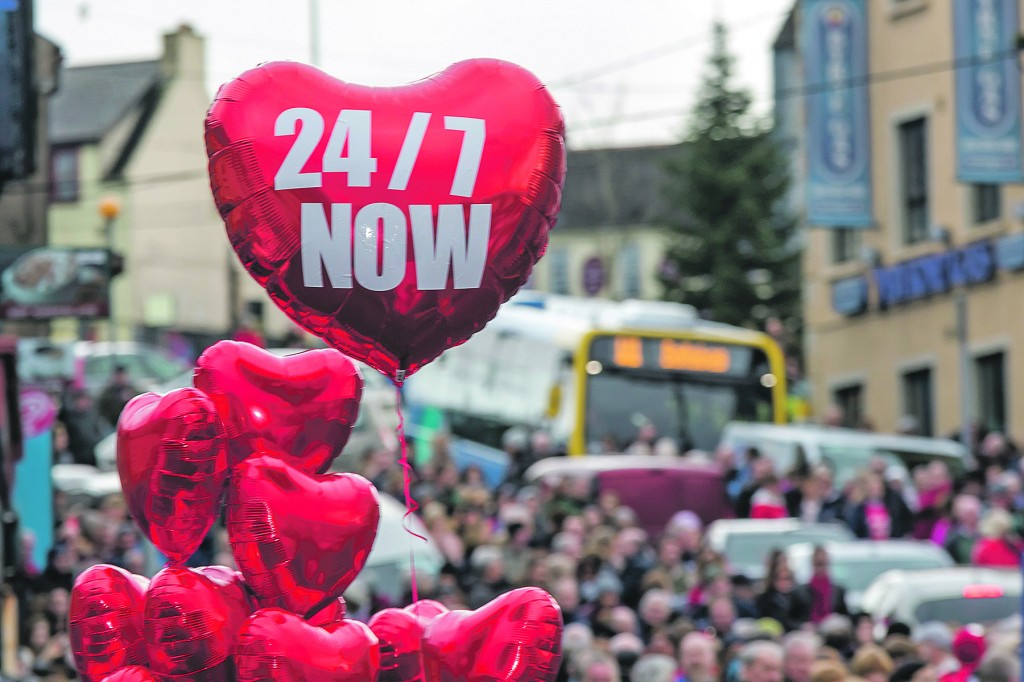The people of Waterford came out in their thousands on Saturday last to re-iterate their call for enhanced cardiac services at University Hospital Waterford. | Photo: Mick Wall