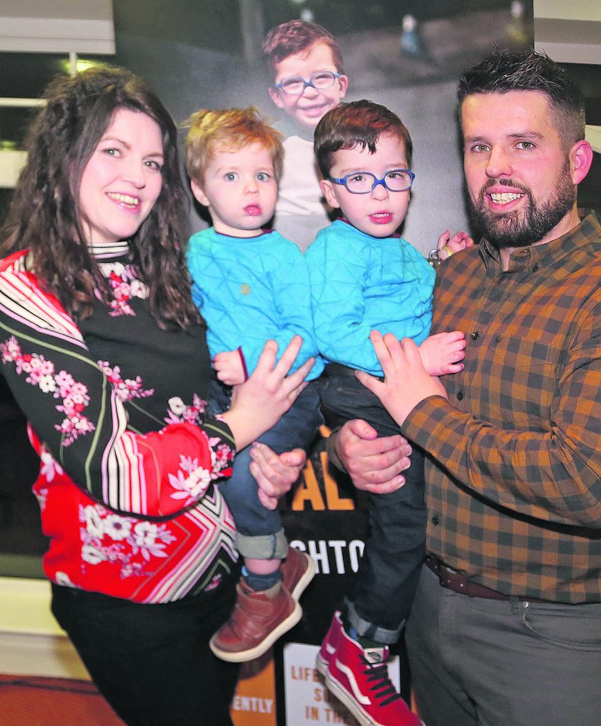 Debbie and David O'Sullivan pictured with sons Noah and Jack at the launch of the 'Noah's Wish To Walk' campaign which was held at the Greenway Manor Hotel on Wednesday evening last.| Photo: John Power