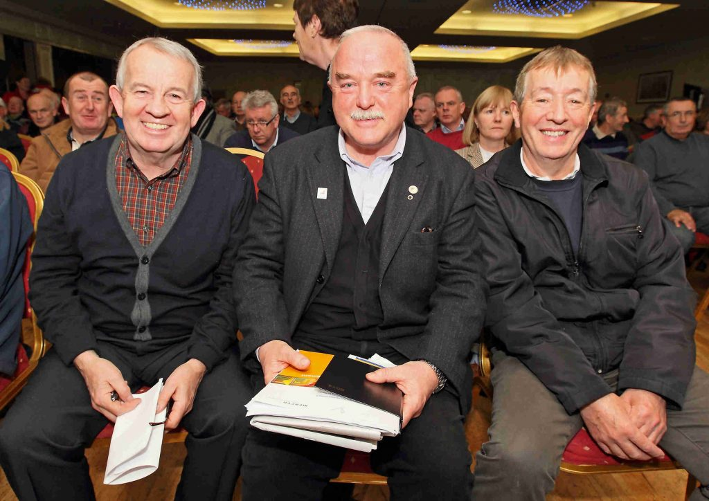 Sean Maher (centre) pictured with fellow 'Glass' workers Mossie Walker and Billy McGrath. It took six years of negotiations to deliver justice for Waterford Crystal pensioners.