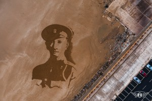 The sand art depiction of James Robert Love created as part of the 100th anniversary of the ending of World War I.