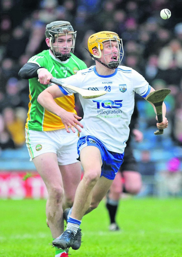 Waterford's Jack Prendergast gets past Offaly's Aidan Treacy during their Division 1B NHL meeting at Semple Stadium on Sunday last.