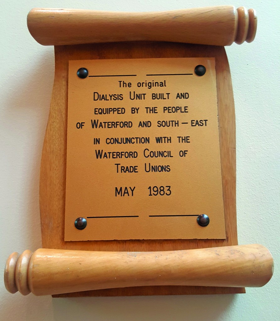 The small but significant plaque hanging in the reception area of the Dialysis Unit at UHW. The people of this region are accustomed to rowing uphill when it comes to health service provision.