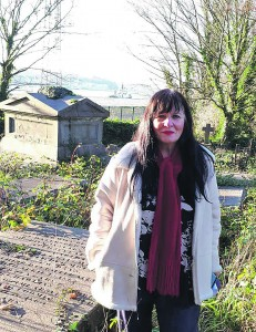 Bernadette at the tomb of Henry Denny at Abbey Church Graveyard, Ferrybank.