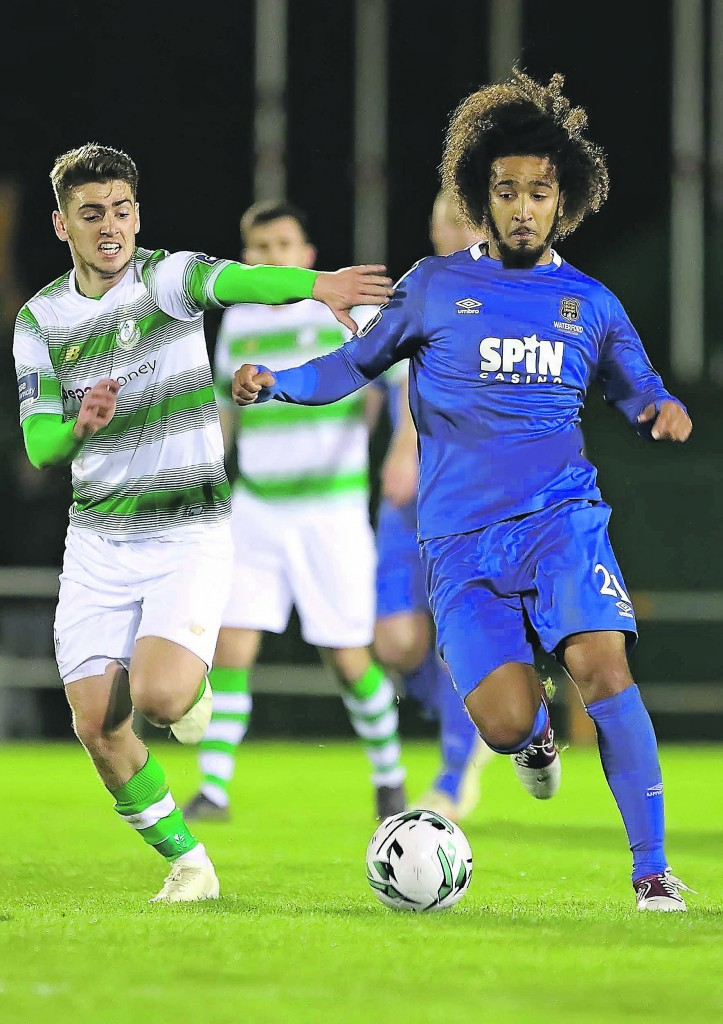Waterford FC's Bastien Hery on the attack during last Friday's Premier Division opener against Shamrock Rovers at the RSC. Inset: disappointment is etched all over Hery's face following the Blues' last gasp defeat.| Photos: Noel Browne