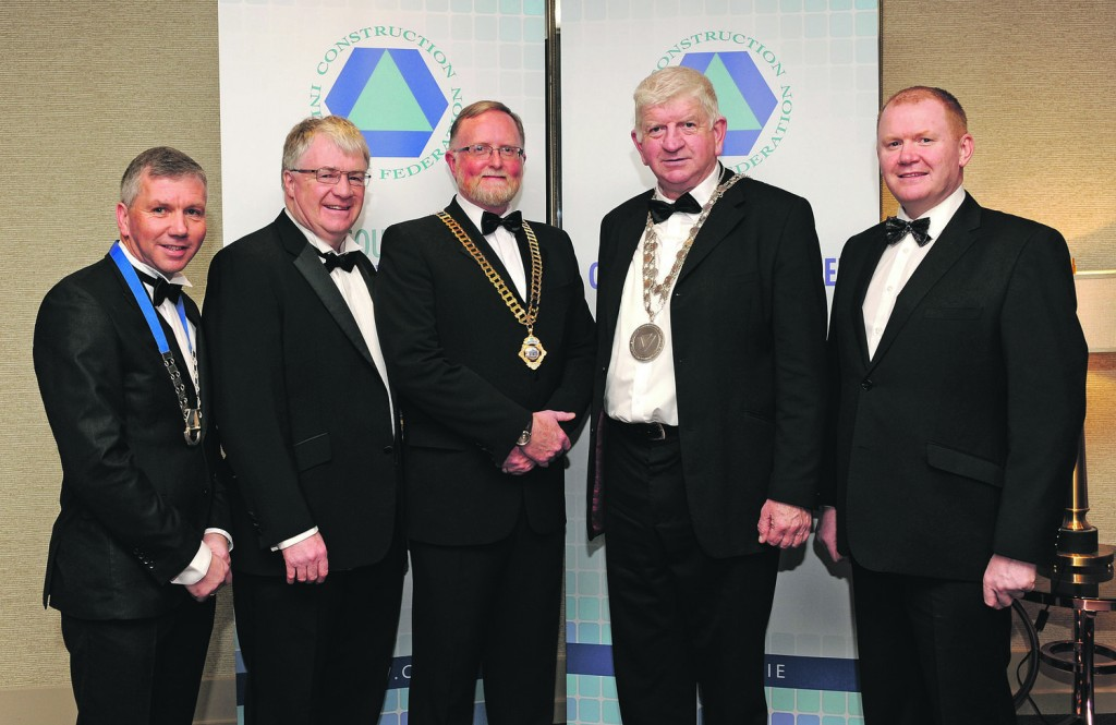 Pictured at last Friday's CIF Dinner at the Tower Hotel were, from left: John O'Shaughnessy, Chairman CIF South East branch and Managing Director of Clancy Construction; Michael Walsh, CEO, Waterford City & County Council, Pat Lucey, CIF President, City & County Mayor Declan Doocey and Senator Paudie Coffey.