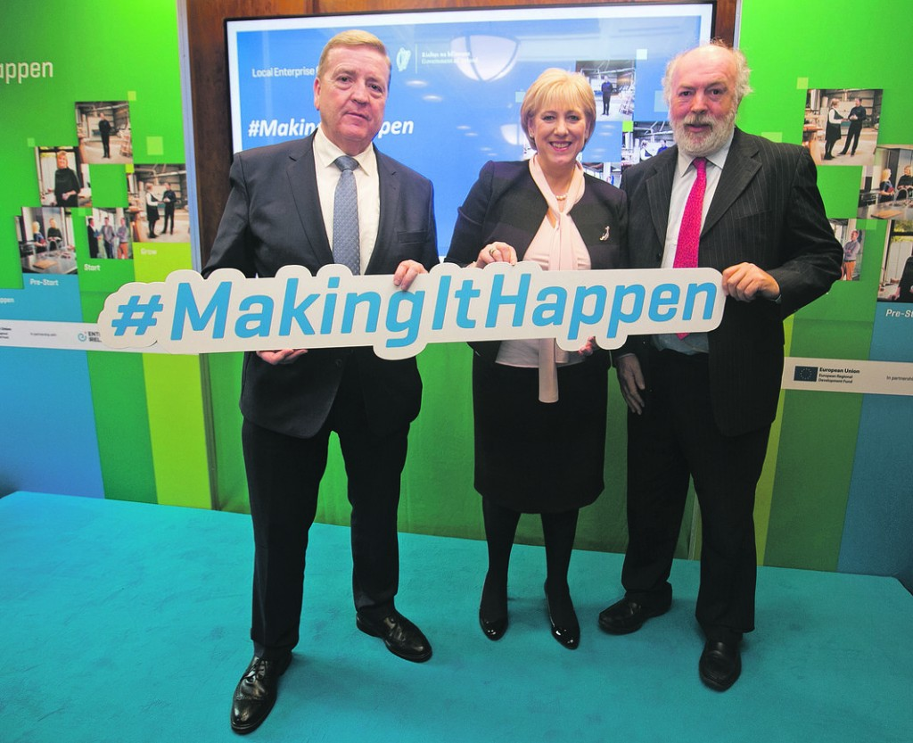 Minister Pat Breen, Minister Heather Humphreys and Head of Enterprise LEO Waterford, Richie Walsh at the recent announcement of Local Enterprise Office figures for 2018.