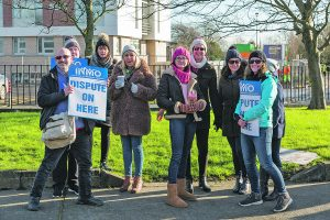 A group of nurses and midwives pictured during last Wednesday's INMO action at University Hospital Waterford. | Photo: Mick Wall