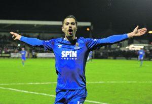 Zack Elbouzedi celebrates as he scores the Blues second goal against Cork City.