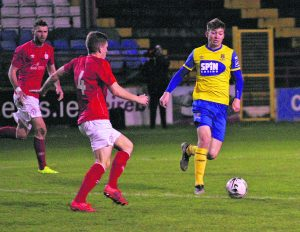Rory Feely on the attack for the Blues against Shelbourne.