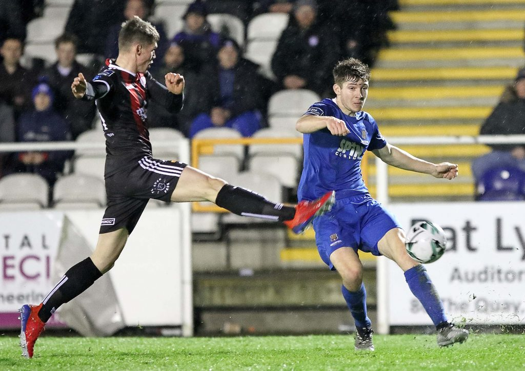 Waterford FC's Rory Feely whips in a great cross from the left hand side