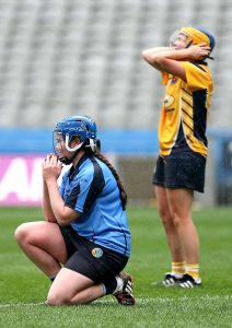 Tears of sadness and joy at the final whistle as Gailltír Aoife Fitzgerald sinks to the ground.
