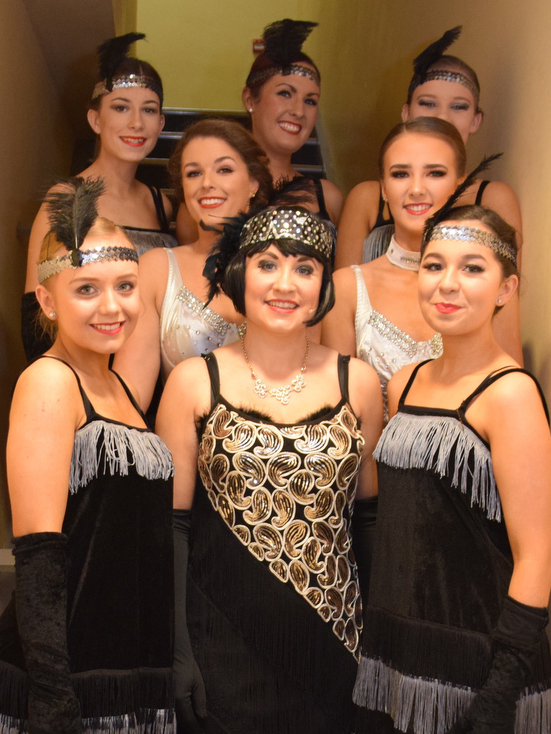 Pictured prior to taking to the Strand Theatre stage during Carrick-on-Suir Musical Society's production of 'Chicago' were (front from left): Niamh Whelan, Sandra Power (Velma Kelly) Katie O'Shea, (second row) Ruthie Raggett and Jodie Keever and (back row), Roisin Torpey, Ciara Lonergan and Liadhain O'Shea.					| Photo: Joe Cashin