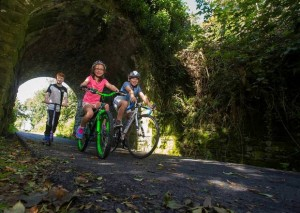 Kevin Dwyer, Gráinne De Paor and Sean De Paor pictured on the Waterford Greenway. Adding new 'spurs' to the cycle route have been touted by public representatives and community activists.