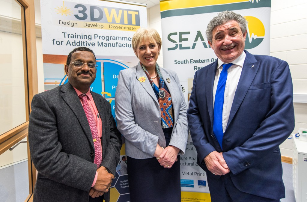 Dr Ramesh Raghavendra (Centre Director of SEAM and CEO ThreeD DAC), with Minister Heather Humphreys (Minister for Business, Enterprise & Innovation) and Minister John Halligan (Minister of State for Training and Skills & Innovation).	| Photos: Leo Murphy