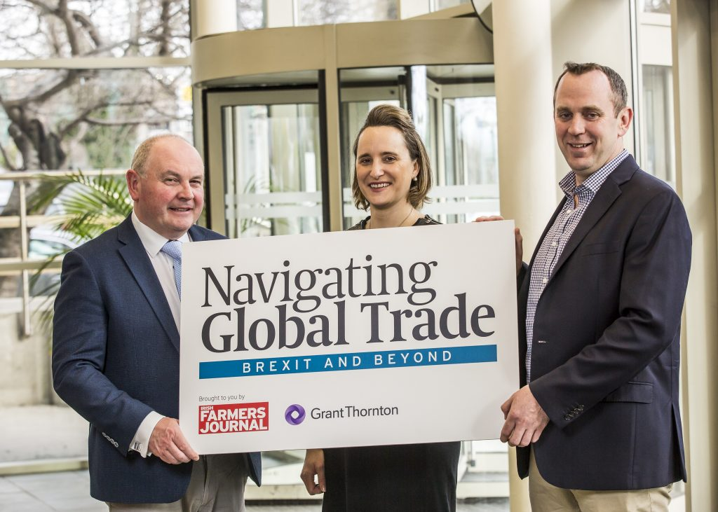 Pictured at the launch of the Navigating Global Trade Conference were Justin McCarthy, (Editor & Chief Executive, Irish Farmers Journal), Sasha Kerins (Partner, Head of Agri-Food, Grant Thornton) and Phelim O'Neill (Markets Specialist, Irish Farmers Journal).
