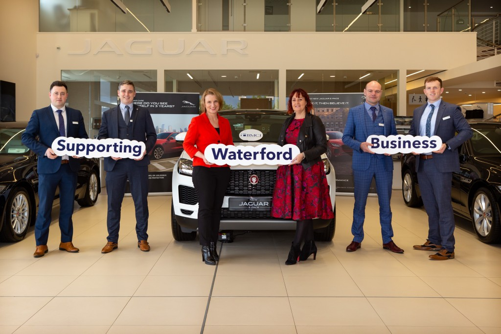 Launching the Waterford Chamber Business Expo are Jonathan Hayes (Jaguar Land Rover Sales Executive), Graham Drennan (Jaguar Land Rover Business Manager), Kathryn Kiely (Waterford Chamber President), Teresa Jane O'Mahoney (BMCI Insurance & Investments Ltd, sponsor),Vincent Hogan (Jaguar Land Rover Senior Sales Executive) and Cian O'Regan (Jaguar Land Rover Sales Executive). | Photo: Garrett Fitzgerald