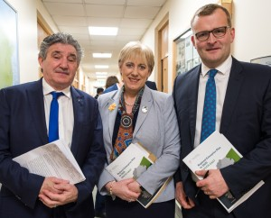 Ministers of State John Halligan and John Paul Phelan flanking Business, Innovation and Enterprise Minister Heather Humphreys at the launch of the South East Regional Enterprise Plan in Waterford on Friday last.				| Photo: Leo Murphy