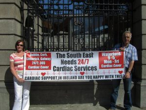Lone figures outside Leinster House: Mary Coughlan and Willie Doyle highlighting the deficiencies in cardiac care in Waterford outside Leinster House in 2014 at a time when the issue was receiving little attention.