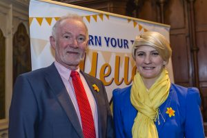 Des Daunt (Chair of Waterford Daffodil Day Committee) and Averil Power (CEO of Irish Cancer Society).