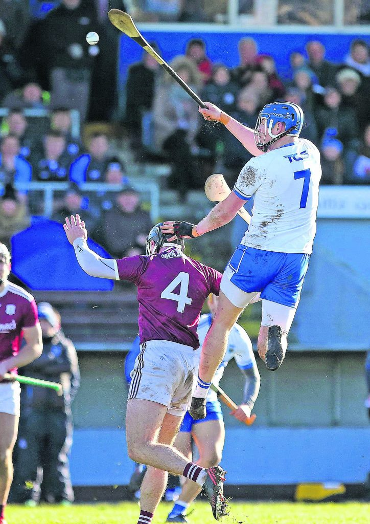 Waterford substitute Austin Gleeson climbs high over Galway's Aidan Harte to block a high ball during last Sunday's Division 1B clash at Walsh Park. See Sport 2 to 4 for more.  | Photo: Noel Browne