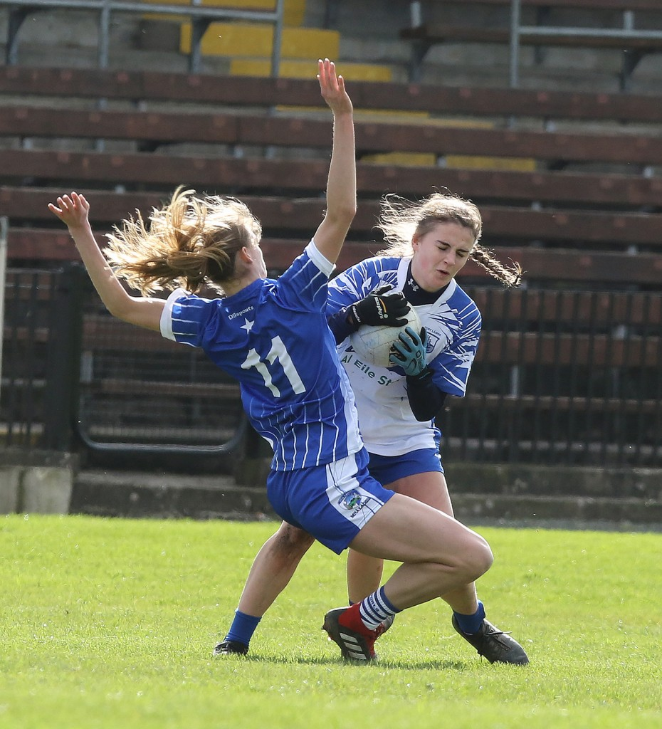 Waterford's Kelly Ann Hogan runs into Joyce Dunne of Laois, during Sunday's Ladies Football National League match at Fraher Field.   Photo: Dan McGrath