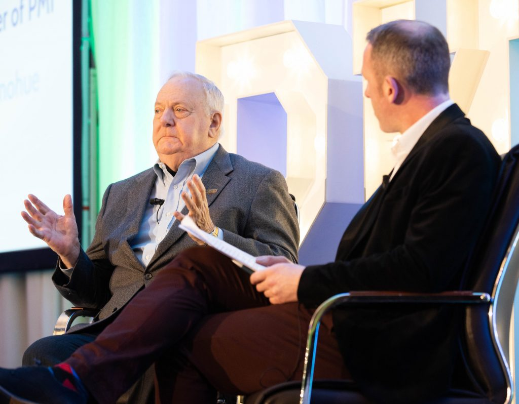 Jim Snyder (guest speaker and PMI co-founder) speaking with Rob O'Donohue at the Ireland Chapter of Project Management Institute's annual national conference, which was held at Cork's Fota Island Resort.  | Photo: Darragh Kane