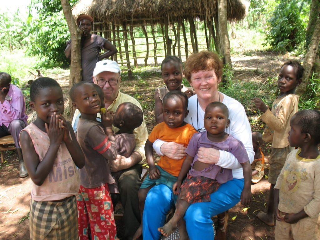 Ursula pictured with Uganda children.
