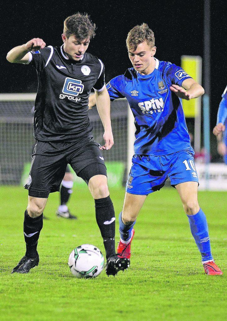 Waterford FC's Scott Twine up against Finn Harps, John Kavanagh.
