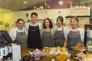 Pictured from left: Sindy Butler, Logan Erickson, Veronica Taglieti (proprietor, Veronica's Café), Dominika Kuzniar and Jessica Payne.